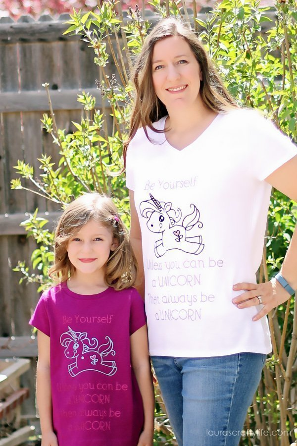 Mother and Daughter Be a Unicorn DIY T-Shirts