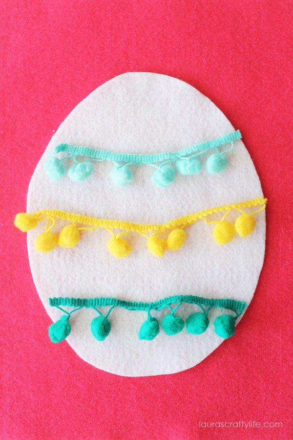 Pom pom trim felt Easter egg craft
