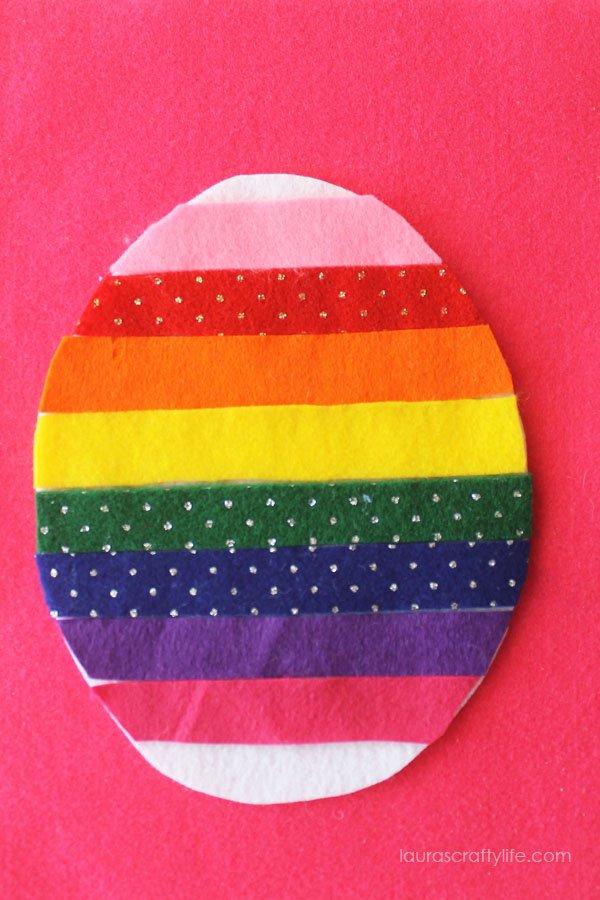 Rainbow felt Easter egg kid's craft