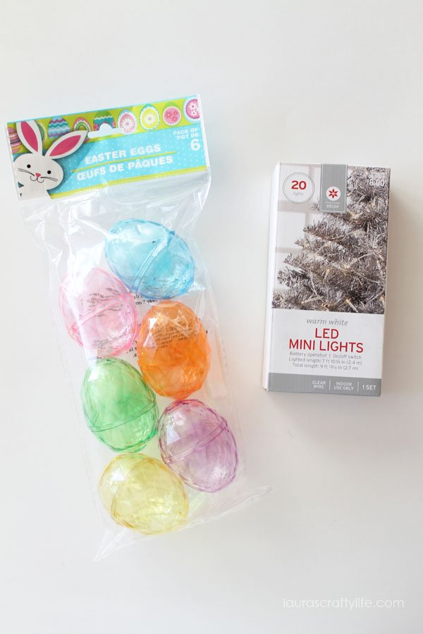 Supplies to make lighted Easter egg garland