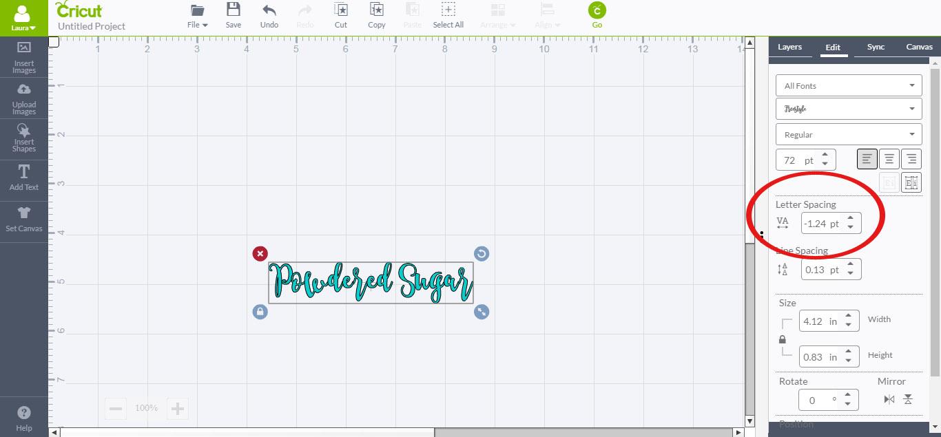 Adjust spacing between letters in Cricut Design Space