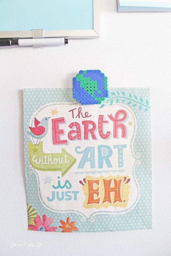 Earth Perler bead magnet