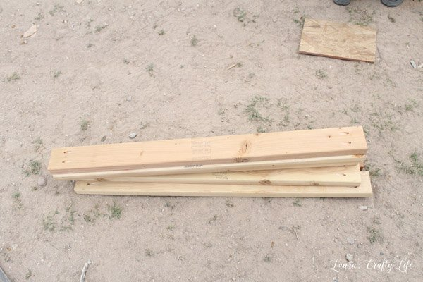Six board with Kreg jig holes to attach walls of chicken coop together