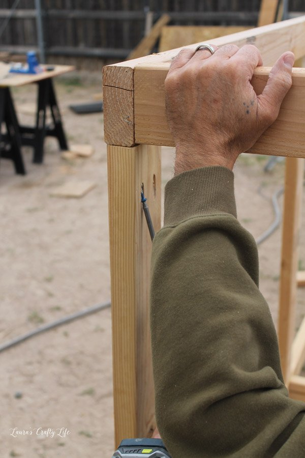Use Kreg jig to attach 2 x 4s to create a box frame for chicken run