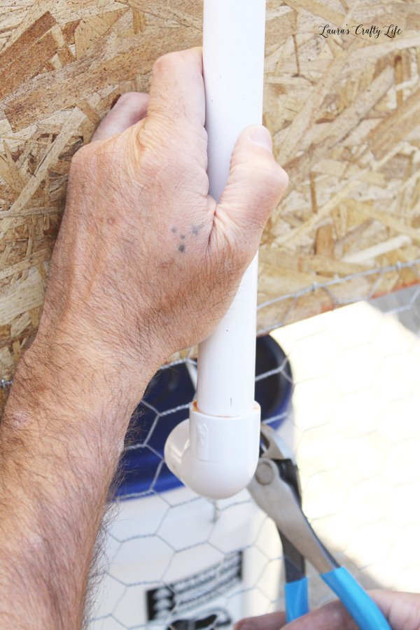 Attach PVC pipe and elbow together