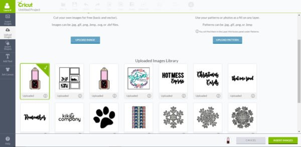 Choose uploaded image and insert image - Cricut Design Space