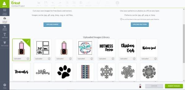 Choose uploaded image and insert image - Cricut Design Space