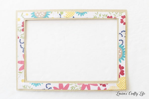 Glue floral border to larger rectangle