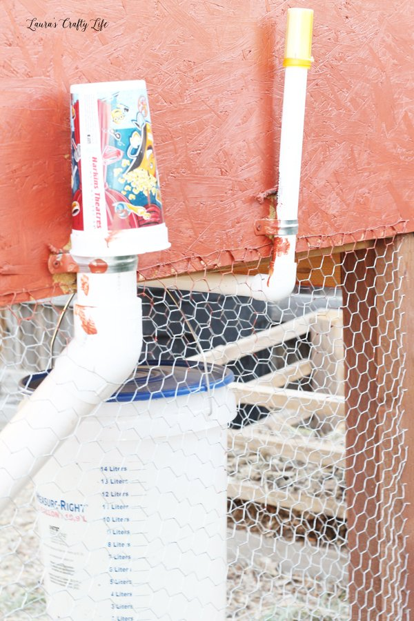 How to cover open PVC pipe for chicken feeder and waterer