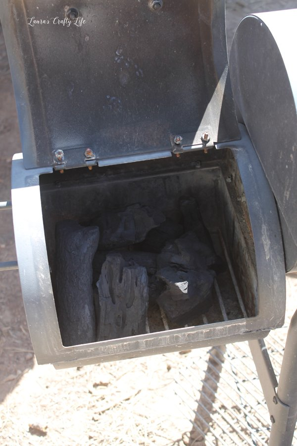 Natural charcoal in smoker
