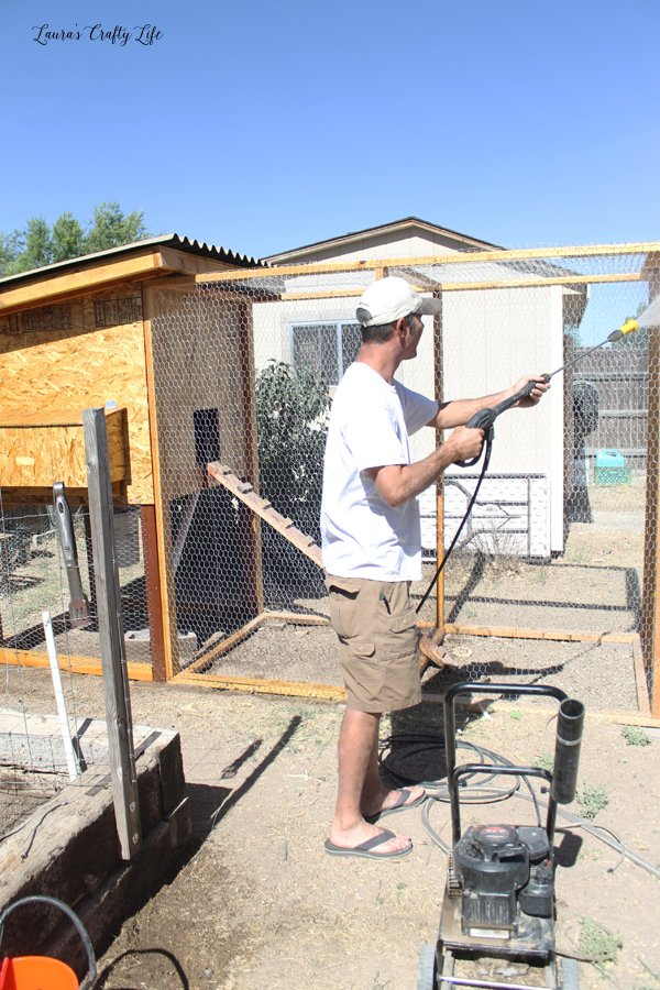 Pressure wash chicken coop and run