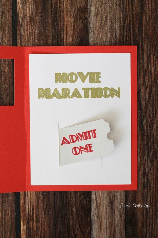 Movie Marathon ticket stub invitation