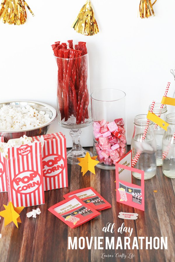 Plan an All Day Movie Marathon party - made with the Cricut Explore