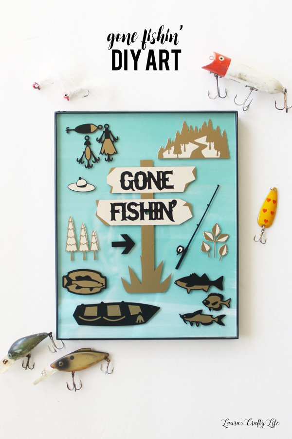 DIY Gone Fishin' Art Sign - made using Cricut Explore and vinyl