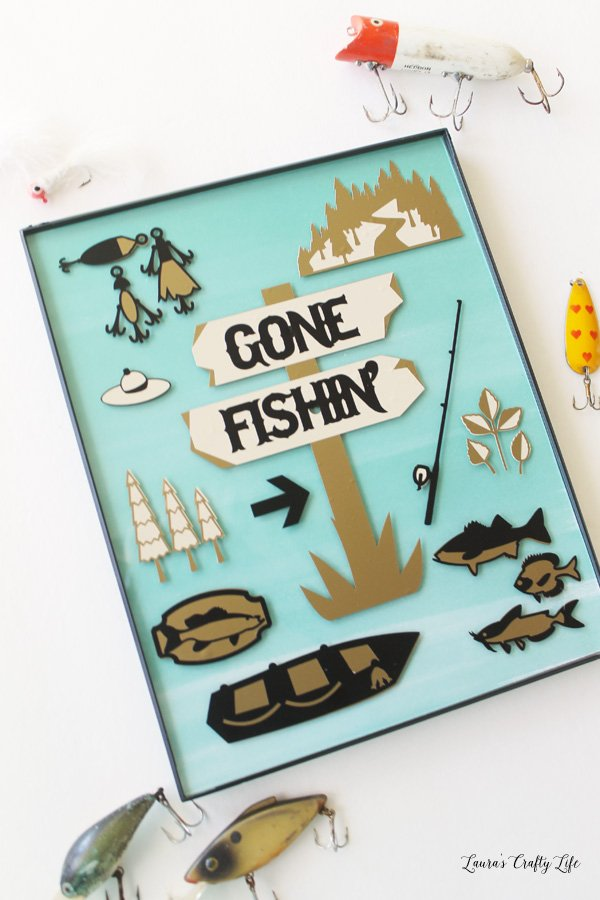 Gone Fishin' DIY Artwork - Laura's Crafty Life