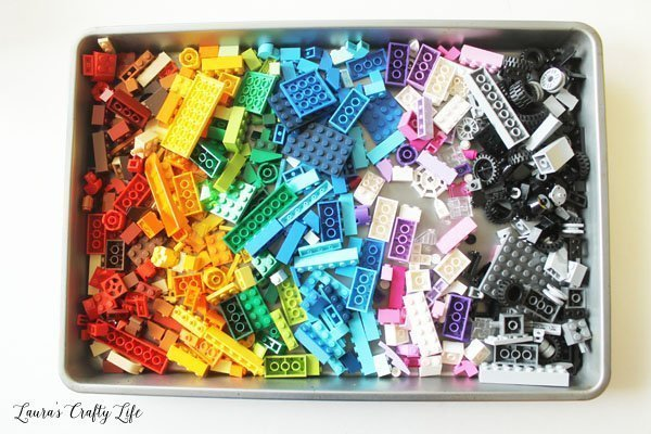 Use a cookie sheet to keep LEGO pieces contained while building