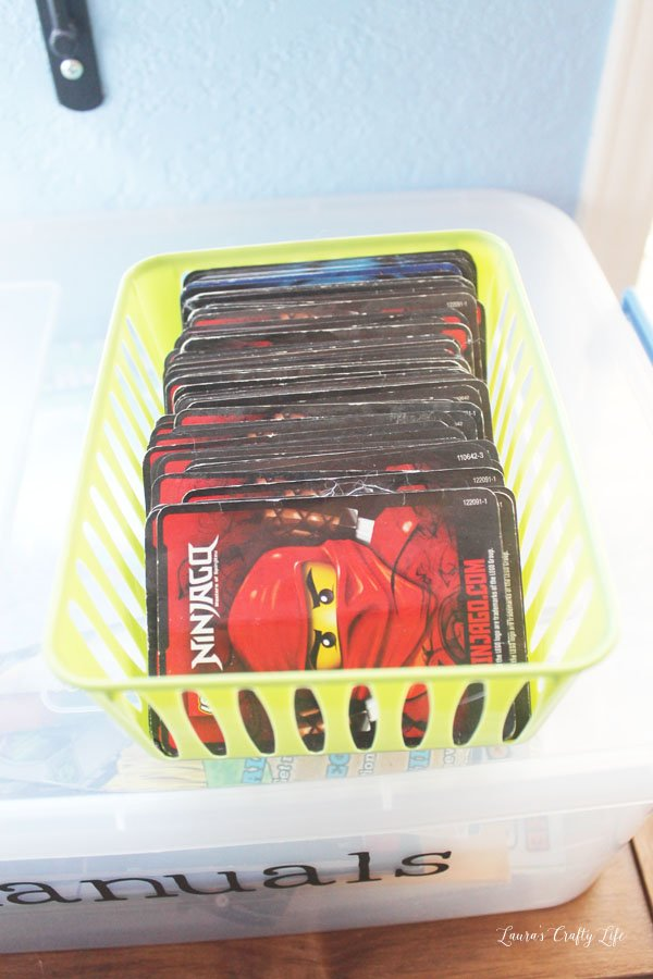 Use a small plastic container to store LEGO cards