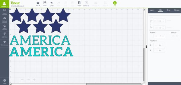 America and Stars with Cricut Explore