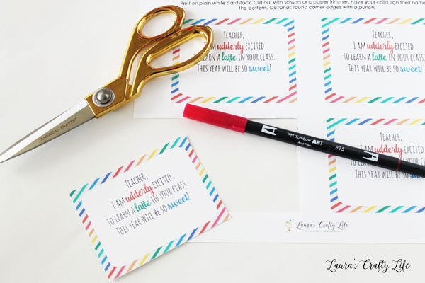 Cut out back to school teacher gift tag