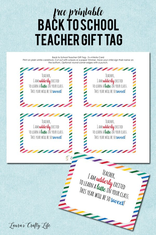 Free Printable Back to School Teacher Gift Tag