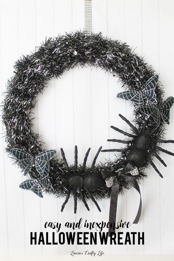 Create a Halloween wreath in under 10 minutes with supplies from the dollar store