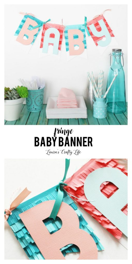 Fringe Baby Banner - easily create a fringed baby banner using supplies from We R Memory Keepers