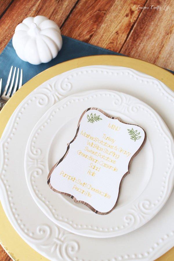 Thanksgiving menu card made with Cricut Explore Air 2