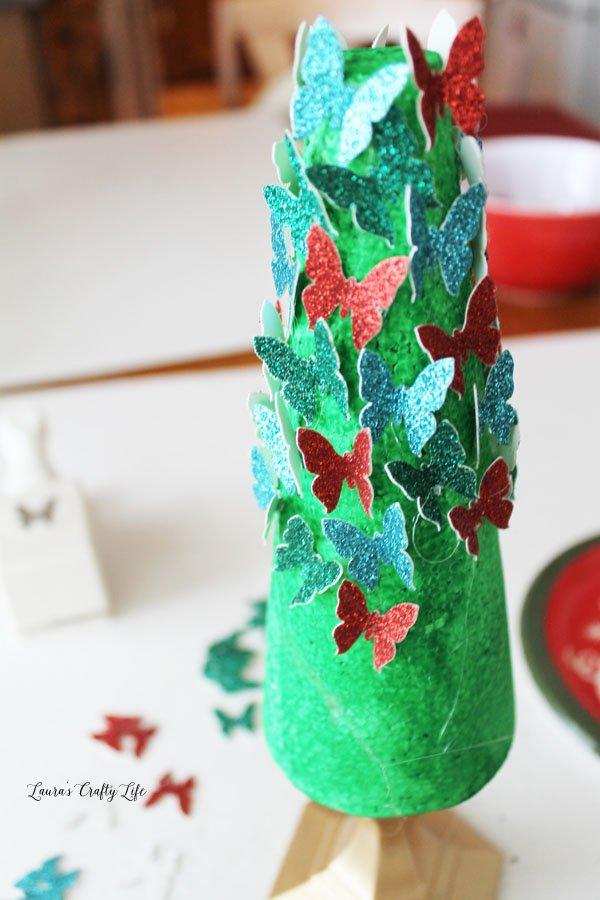 add-butterflies-to-styrofoam-cone