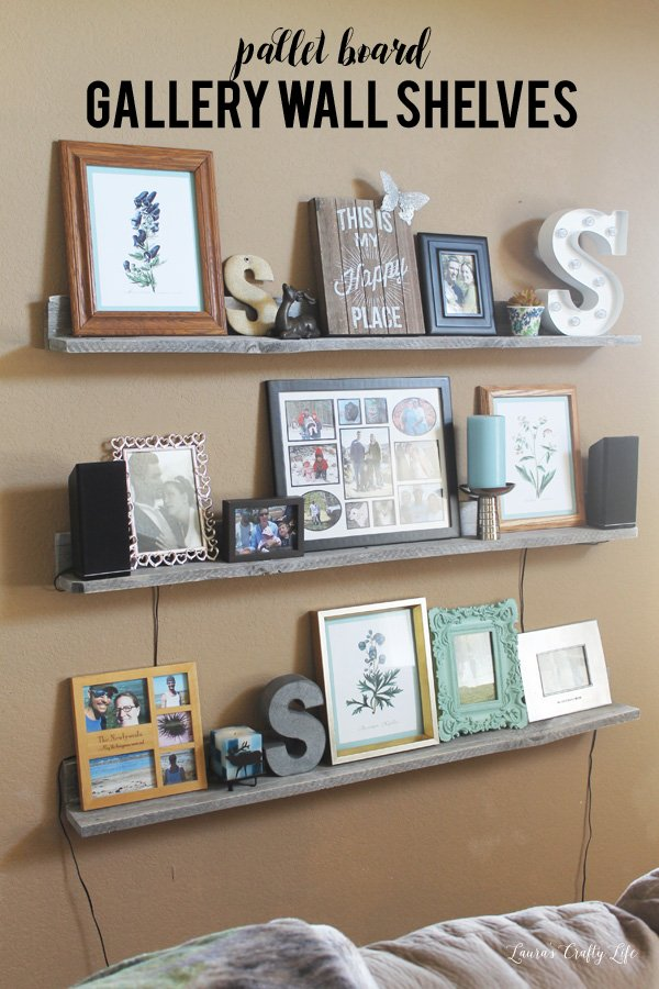 DIY pallet board gallery wall shelves - so easy to make!