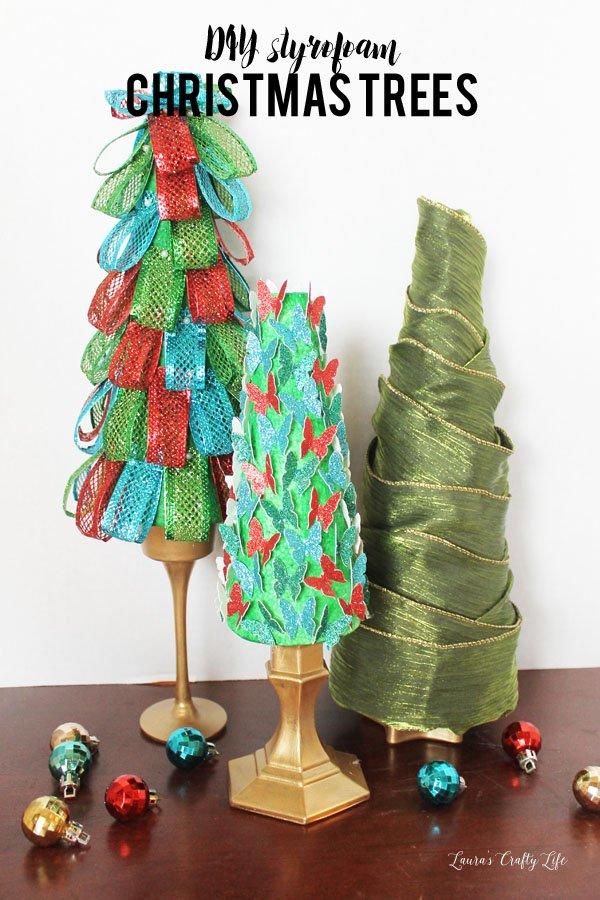 DIY styrofoam Christmas holiday trees