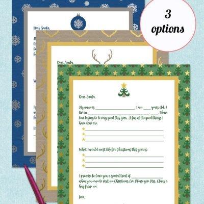 free printable letter to Santa - Christmas tree, deer antler, or snowflakes