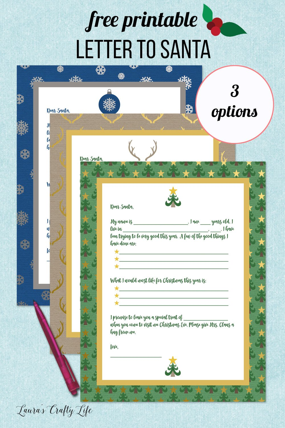 free printable letter to Santa - Christmas tree, deer antler, or snowflakes