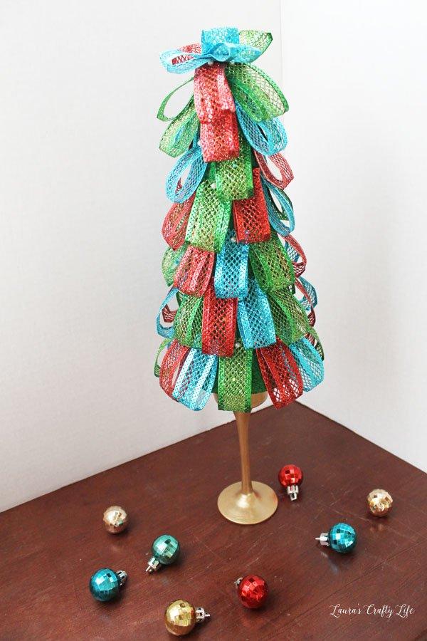 Glitter looped ribbon styrofoam tree