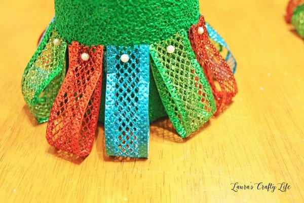 loop-ribbon-and-pin-to-styrofoam-cone