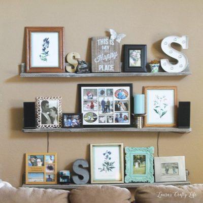 Pallet board gallery wall shelves