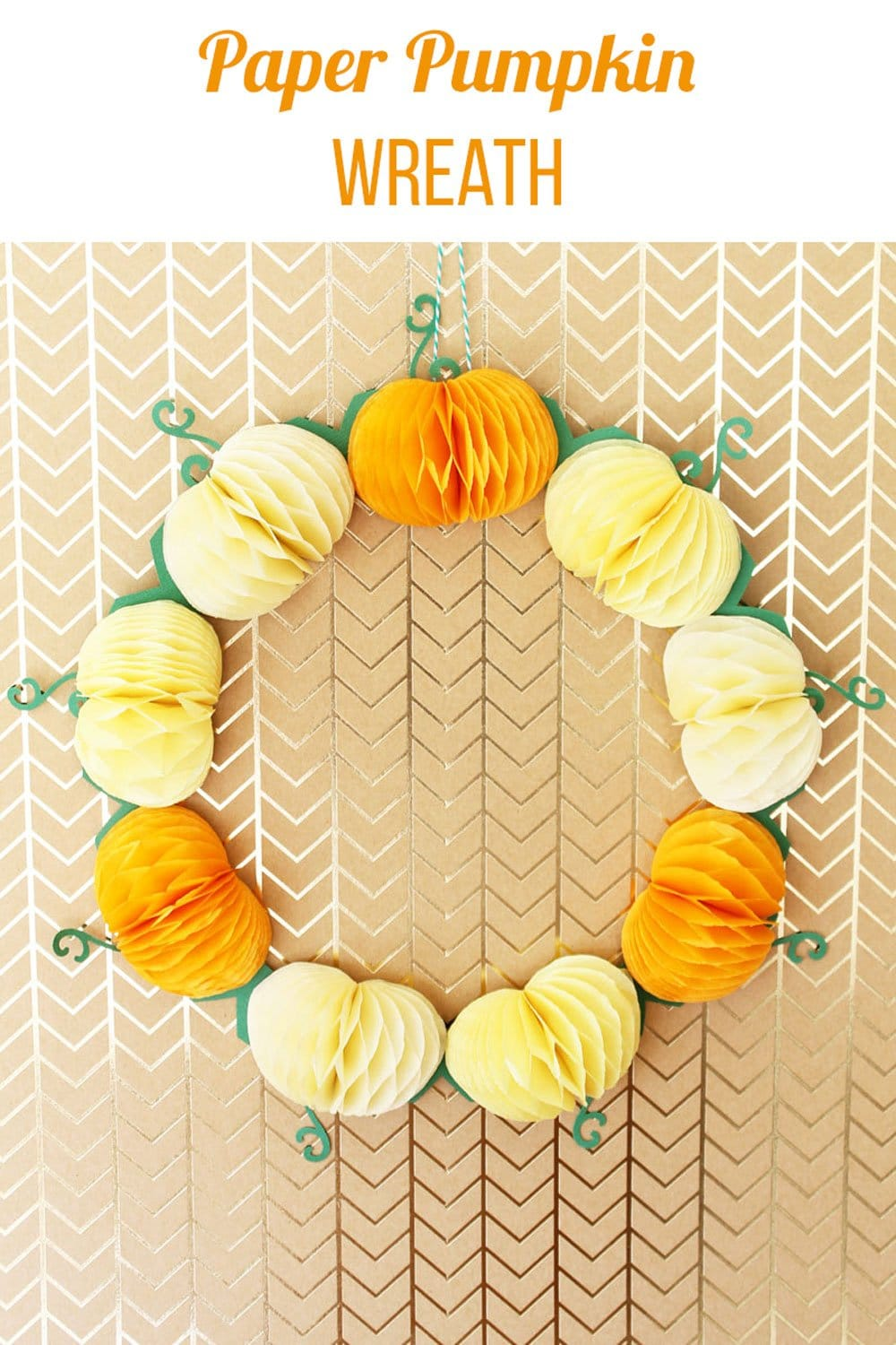 Paper pumpkin wreath made with honeycomb pads