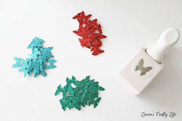punch-butterflies-from-glitter-cardstock