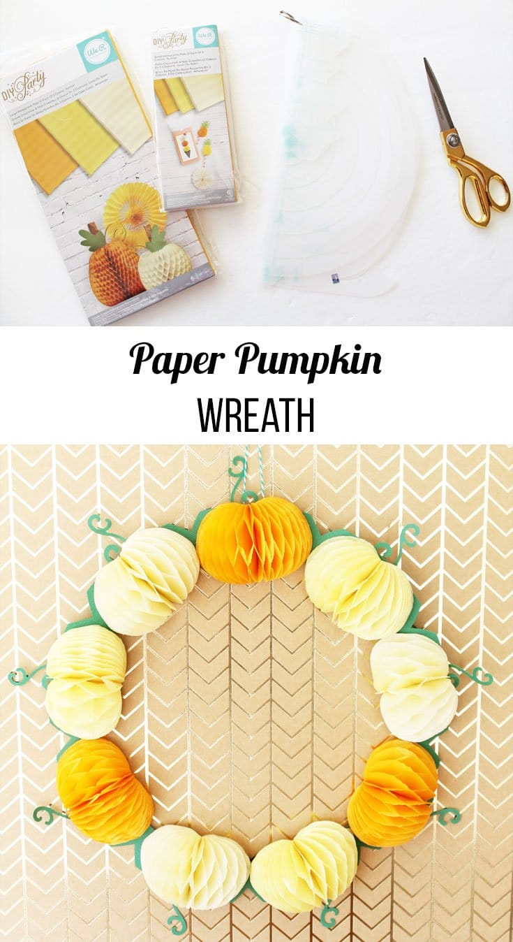 paper pumpkin wreath with We R Memory Keepers