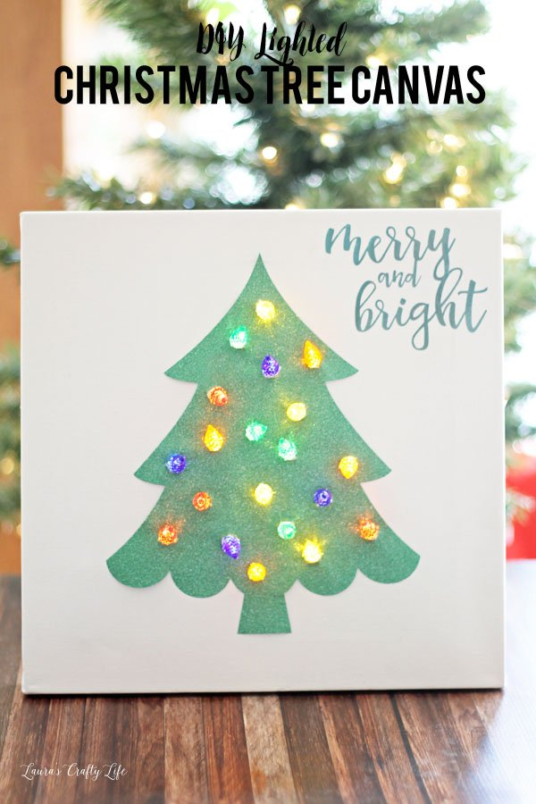 DIY Lighted Christmas tree canvas made with Cricut Explore