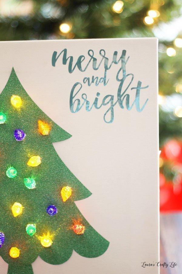 DIY Lighted Christmas tree canvas - create this festive art piece easily with the Cricut Explore