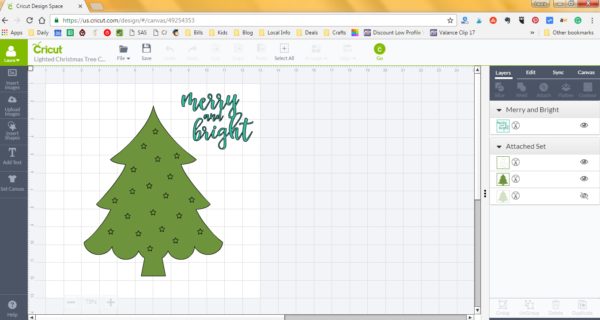 Lighted Christmas Tree Canvas - Cricut Design Space File