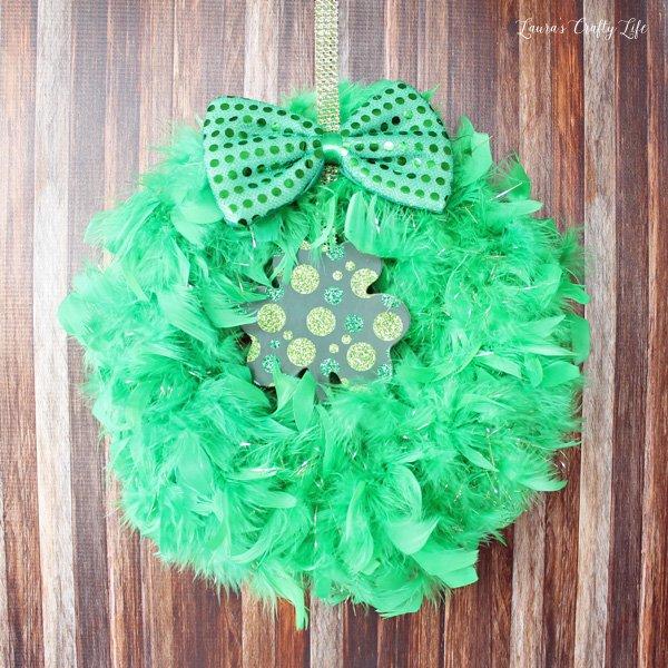 green feather shamrock wreath