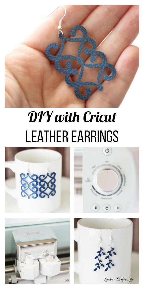 DIY Leather Earrings. Learn how to create your own custom leather earrings easily with the Cricut. You can customize the design, style, and color. #laurascraftylife #jewelry #leather #cricut