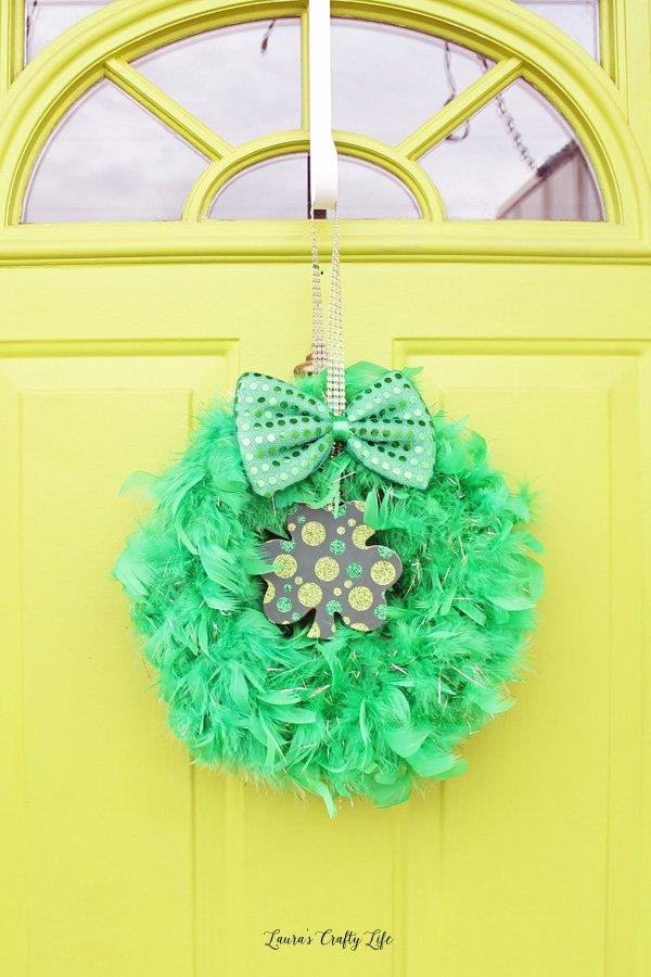 St. Patrick's Day wreath on front door
