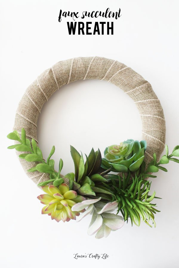 Faux succulent wreath DIY - made with supplies from Dollar Tree - an inexpensive and quick gift idea