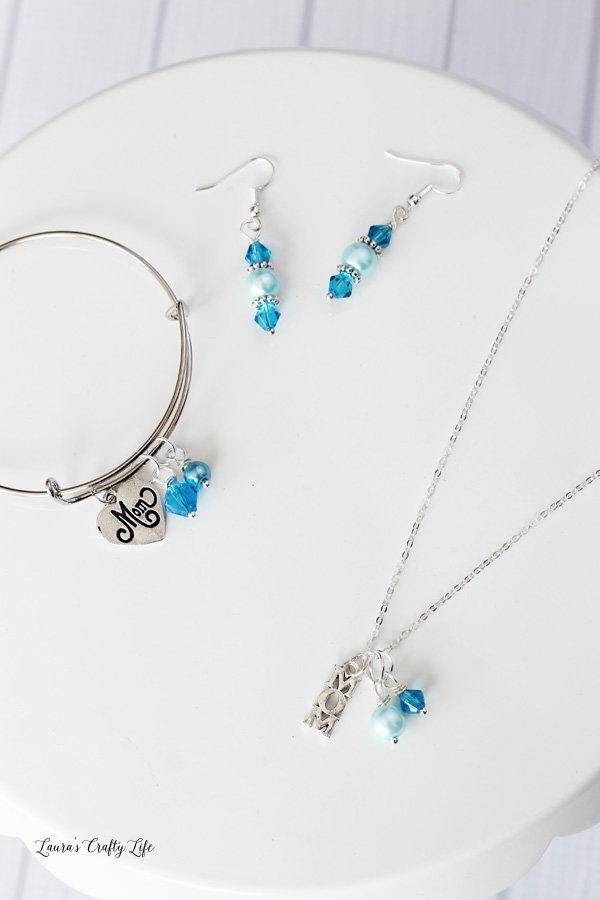 Blue Beaded Mother's Day Charm Jewelry Set