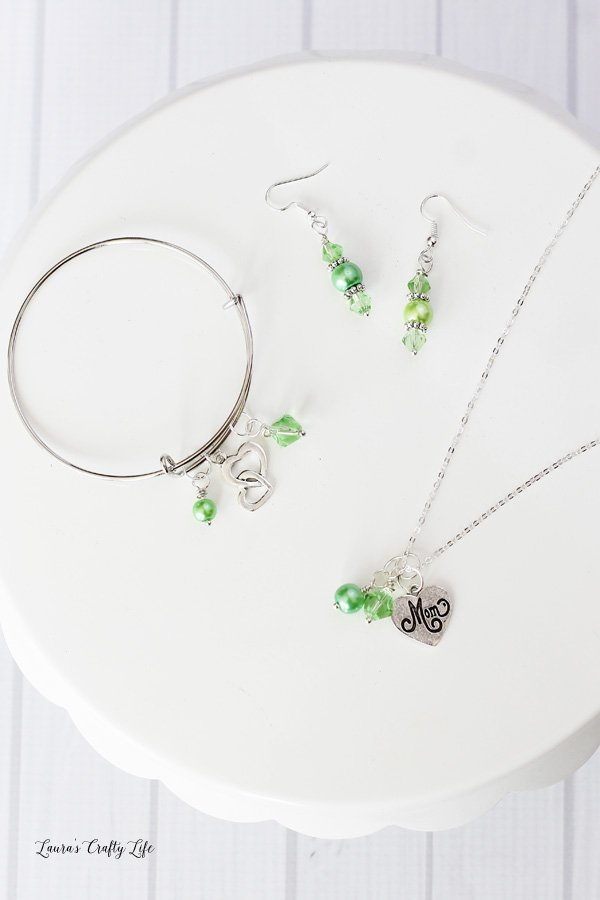 Green Beaded Mother's Day Charm Jewelry Set