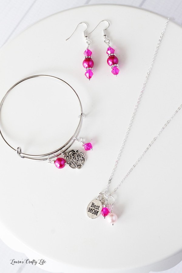 Pink Beaded Mother's Day Charm Jewelry Set