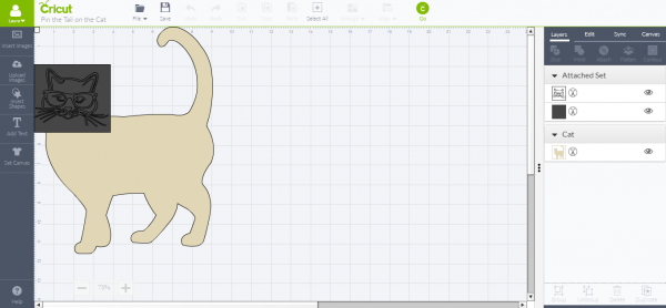 Cricut Design Space - pin the tail on the cat