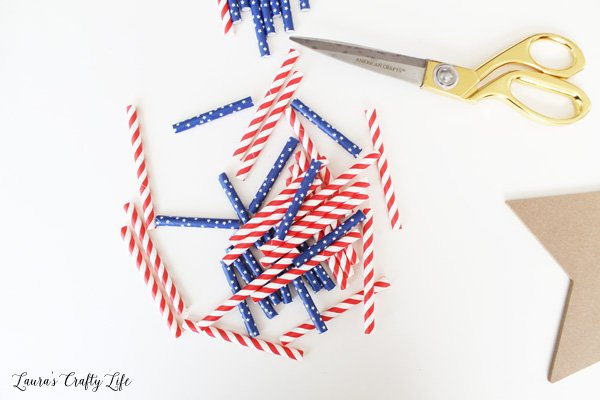 Cut straws to use for chalkboard wall art
